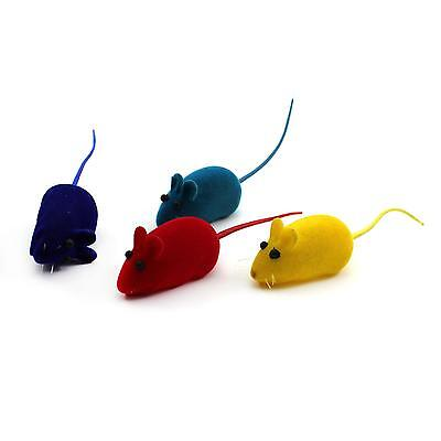 Multicolor Pet Cat Dog Play Fun Sound  Mice Rubber Flocking Rat Mouse Shape Toy