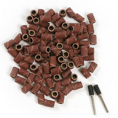 100pcs Fine GRIT 80# Rotary Sanding Drum Sand Bands Sleeves W/ 2 Drum Mandrels
