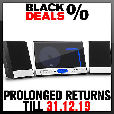 Compact Stereo Speakers System Hifi Radio FM CD Player USB MP3 Wall Mount Remote