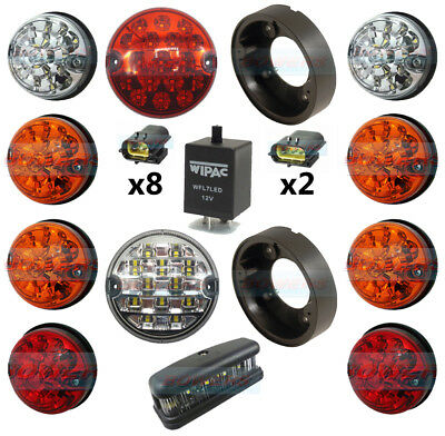 Land Rover Defender Complete 10 Led Light Upgrade Kit + No Plate Rdx Wipac Lux