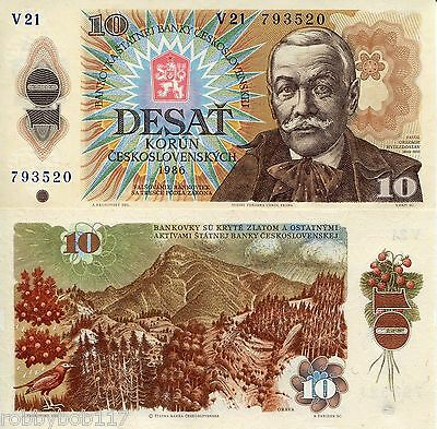 CZECHOSLOVAKIA 10 Korun Banknote World Money Currency Europe Bill p94 1986 Note