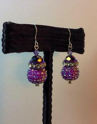 Sterling Silver earrings w/ purple faceted crystal and AB rhinestone pave balls