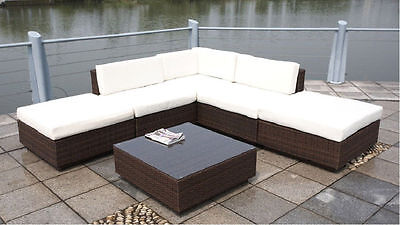 New 6 Piece PE Rattan Wicker Outdoor Patio Furniture Lounger Sectional Set Brown