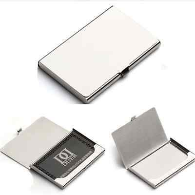1X Business Name Credit ID Card Holder Box Metal Stainless Steel Pocket Box Case