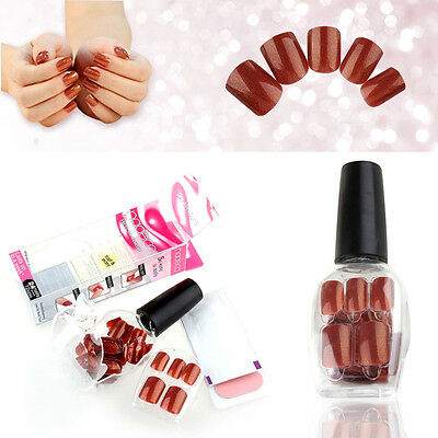 Press On Manicure False Tips No Need Glue Nail Art Short Design Manicure Deco