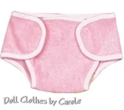 "Pink Terry Cloth Diaper fits 15"" Bitty Baby  & Gotz Dolls - Clothes"
