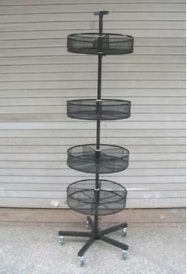 TALL SPINNING WIRE BIN DISPLAY FLOOR RACK WITH 4 ROUND BINS portable wheels new