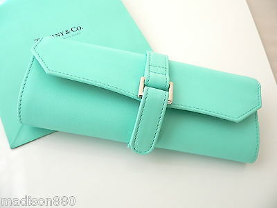 Tiffany & Co Blue Leather Jewelry Travel Purse Handbag Bag Roll Case Container