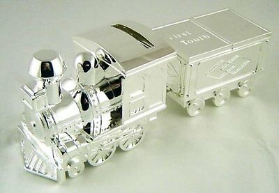 Silver Plated Train Money Box, Tooth & Curl Carriages - Baby Christening Gift