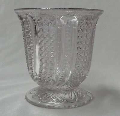 Antique 1900 EAPG Pattern Glass INDIANA FEATHER Clear SPOONER Spoon Holder NICKS