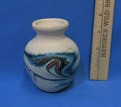 Hand Crafted Pottery Ceramic Vase Nemadji Electric Cobalt Blue Swirl Brown Tan