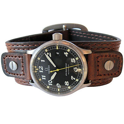 18mm 20mm Hadley-Roma Brown Leather Riveted Military Bund Cuff Watch Band Strap