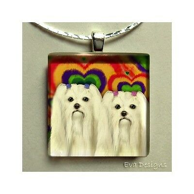 Maltese Dogs Love Necklace Charm Beads Jewelry Pet Art Gift Glass Tile Pendant