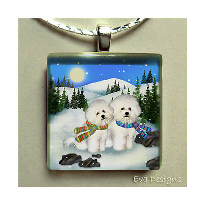 Bichon Frise Dog Mountain Sun Necklace Jewelry Gift Art Glass Tile Pendant Chain