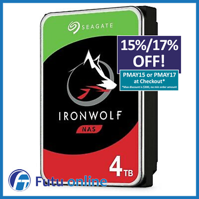 "Seagate 4TB IronWolf NAS HDD SATA 3.5"" Internal Hard Drive 5900RPM 64MB Cache"