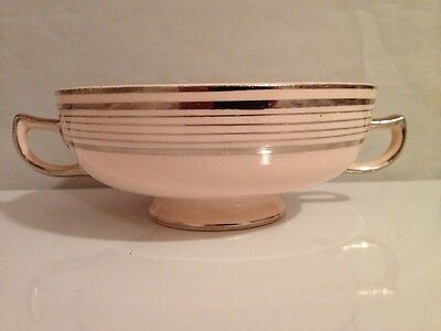 "Vintage Limoges - Peach Blo - Ritz Platinum - Footed Soup Bowl 5"" with Handles"