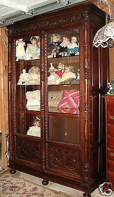 """Beautiful Large Antique Carved 2 Door Bookcase Display Cabinet 95"""" Tall"""