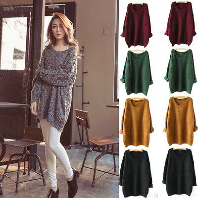 New Women Casual Round Neck Long Sleeve Knitted Sweater Loose Knitwear Pullover