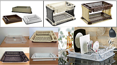 Plastic Dish Drainer With Tray Plate Cutlery Rack Storage Holder Kitchen Home
