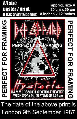 Def Leppard live Hammersmith  London 9th September 1987  A4 size poster print