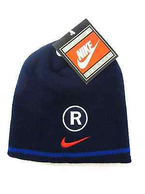 NIKE Glasgow Rangers FC Official Football Gift Knitted Crest Beanie Hat Navy