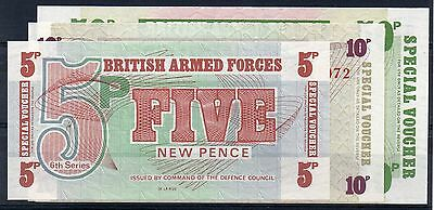 BRITISH ARMED FORCES. 5p, 10p & 50p Banknotes. Pristine.