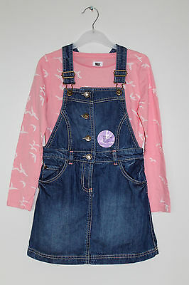 NEW Girls Denim Dress and Pink Bird Print Top Set Age 2-3, 4-5 Years *FREE P&P*