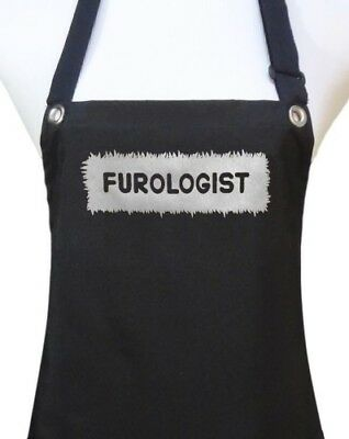 "Dog Grooming Apron ""FUROLOGIST"" waterproof pet groomer salon black"
