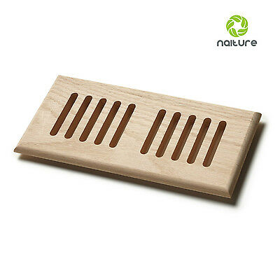 Unfinished Solid Block Wooden Floor Register Vent Grille in 9 Sizes and 3 Wood