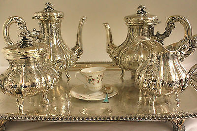 SILVER 800 PURITY ITALIAN FULLY HAND CHASED TEA AND COFFEE SERVICE 4 PC PRISTINE