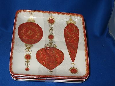 222 Fifth Constantina RED Square Set 4 Appetizer Plates Christmas Ornaments NEW