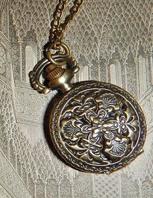 Little antiqued brass pocket watch necklace sweater chain steampunk Victorian