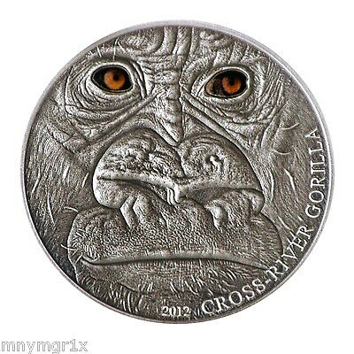 2012 Cross River Gorilla, 1oz .999 Fine Silver, Antique Finish, Beautiful