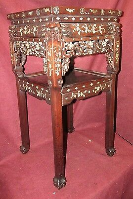 Antique Chinese Inlaid Hardwood Stand Table Unusual Form PRICE REDUCED