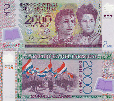 Billet Banque Paraguay 2000 Guaranies 2008 Speratti Neuf New Unc