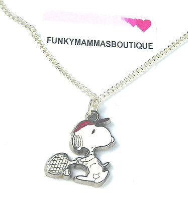 """Cute Snoopy Tennis Player Necklace 16"""" Chain In Gift Bag Childrens Jewellery"""