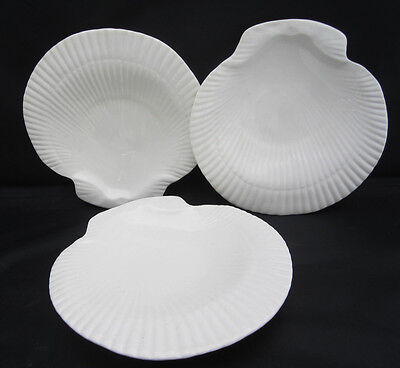"3 Shell Shaped Salad Plates Secla Portugal All White 8"" Crazing"