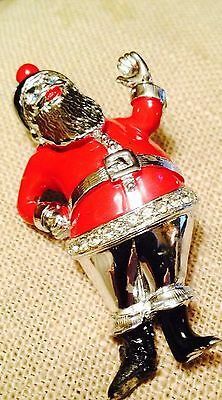 Vtg Christmas Santa Elf Pin Red Enamel On Silver Tone Metal Blue Rs Eyes