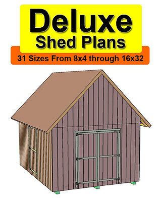 12x24 Deluxe Gable Roof Shed Plans In 31 Sizes From 8x4 To 16x32