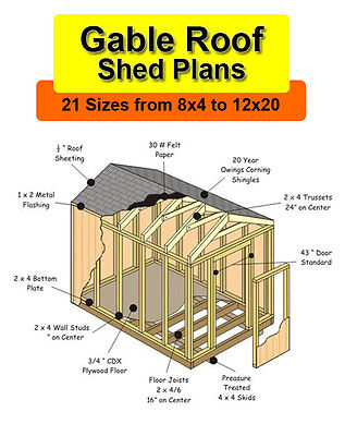 8x12 Shed Plans in 21 sizes from 8x4 to 12x20
