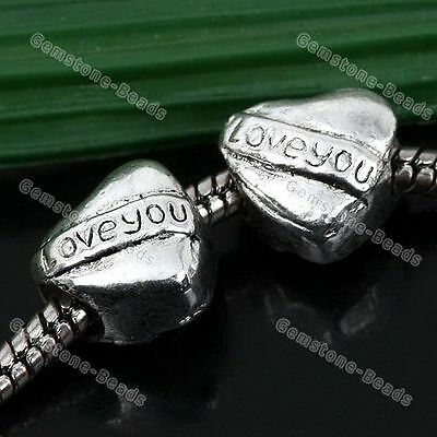 5x Tibetan Silver Carved I Love You Heart Spacer Beads Fit Charms Bracelet DIY
