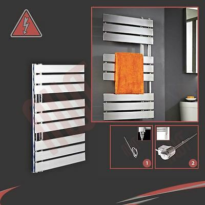 "500mm(w) x 800mm(h) ""Apollo"" Electric Chrome Designer Towel Rail, Radiator 150W"