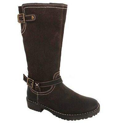 Hush Puppies Custom Brown Girls Junior Suede Zip Up Shoes Boots HKY8051 203 B64B