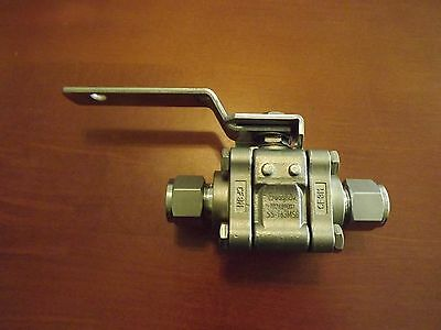 "Swagelok SS-T63MS8 1/2"" Fittings, SS 3 pc. Ball Valve Instrument/ fluid  control"