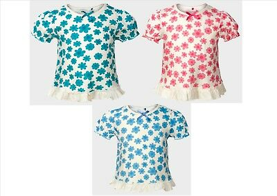Girls Ex George Floral Short Sleeve Summer/Sun Top 12-18 18-24Mth 2 3 4 5 6 Yrs