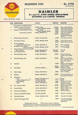Daimler 3½ & 4½ Litre Model One O Four Shell Service Guide Lubrication Chart