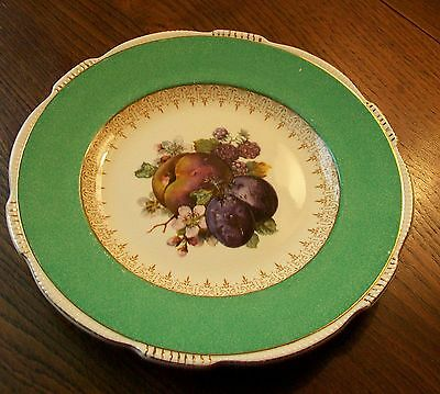 """Vintage Art Deco B and L Ltd Burleigh Ware Gilded Fruit 8-3/4"""" Plate"""
