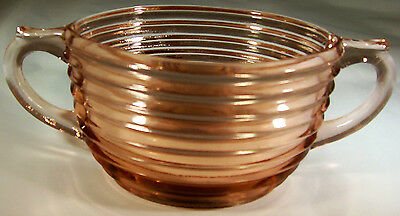 "Anchor Hocking Glass Co. Manhattan Pink 4-1/4"" Diameter Handled Oval Sugar Bowl!"