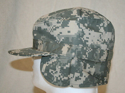 MIL-SPEC ACU UCP CAMO COLD WEATHER PATROL CAP HAT W/ MUFF SIZE 7 3/4 U.S. MADE