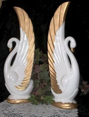 Set of Large Vintage Swan Figurines ~ Bookends or Decorative Figurines 1960's